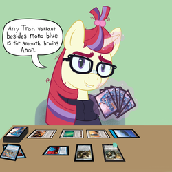 Size: 1000x1000 | Tagged: artist:scraggleman, card game, card sleeve, clothes, glasses, implied anon, magic, magic the gathering, messy mane, moondancer, pony, safe, solo, speech bubble, sweater, text, unicorn