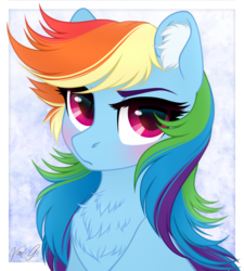 Size: 1350x1500 | Tagged: dead source, safe, artist:vird-gi, rainbow dash, pegasus, pony, blushing, bust, chest fluff, cute, dashabetes, ear fluff, female, fluffy, looking at you, mare, portrait, signature, solo