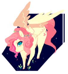 Size: 1124x1225 | Tagged: alternate hairstyle, artist:simpleoddities, colored hooves, cute, fluttershy, hair over one eye, heart eyes, lineless, no pupils, pegasus, pony, safe, shyabetes, solo, wingding eyes