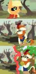 Size: 1080x2195 | Tagged: safe, artist:nootaz, applejack, autumn blaze, pony, comic, infinity gauntlet, infinity war, kirin village, let me guess, lineless, ponified