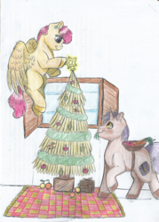 Size: 1161x1624 | Tagged: apple, artist:69bea, basket, carpet, carrot, christmas, christmas tree, couple, duo, female, flying, food, holiday, looking up, male, mare, oc, oc only, orange, pegasus, plum, present, safe, shipping, spread wings, stallion, stars, traditional art, tree, unicorn, window, wings