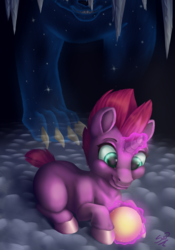 Size: 2654x3790 | Tagged: artist:cuervo-of-cristal, ball, blank flank, cave, claws, duo, female, filly, fizzlepop berrytwist, glowing horn, horn, magic, my little pony: the movie, pony, safe, smiling, teeth, telekinesis, tempest shadow, this will end in tears, unicorn, ursa minor, younger