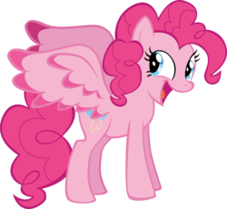 Size: 10588x9739 | Tagged: absurd res, artist:mrkat7214, colored wings, colored wingtips, happy, large wings, pegasus, pegasus pinkie pie, pinkie pie, pony, race swap, safe, simple background, solo, transparent background, vector, wings