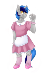 Size: 1753x2760 | Tagged: safe, artist:dollpone, oc, oc only, oc:cappie, anthro, unicorn, clothes, crossdressing, dress, gloves, maid, male, mary janes, shoes, simple background, sissy, skirt, socks, solo, transparent background