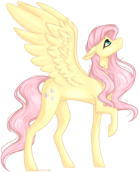 Size: 767x955 | Tagged: artist:cat-tastrophy, female, floppy ears, fluttershy, looking up, mare, pegasus, pony, profile, raised hoof, safe, simple background, solo, spread wings, standing, transparent background, wings