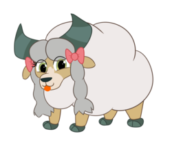 Size: 2830x2520 | Tagged: safe, artist:eow, yona, sheep, wooloo, yak, :p, bow, cloven hooves, crossover, cute, pokemon sword and shield, pokémon, solo, tongue out, woolyona