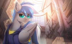 Size: 1748x1080 | Tagged: safe, artist:redchetgreen, oc, oc only, oc:cloud zapper, pegasus, pony, alleyway, city, clothes, graffiti, male, scenery, solo, stallion