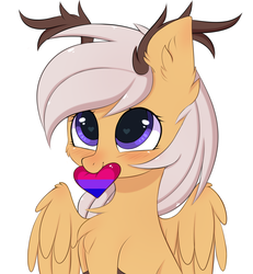 Size: 2673x2895 | Tagged: alternate version, antlers, artist:pesty_skillengton, bisexual pride flag, blushing, chest fluff, cute, ear fluff, female, heart, mouth hold, oc, oc:antler pone, oc only, original species, pride, pride month, safe, simple background, wings, ych result