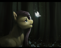 Size: 1256x997 | Tagged: artist:eerinless, bust, butterfly, female, flower, fluttershy, forest, glow, looking at something, looking up, mare, night, open mouth, outdoors, pegasus, pony, profile, safe, solo