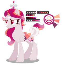 Size: 481x507 | Tagged: artist:awoomarblesoda, base used, crown, female, hybrid, interspecies offspring, jewelry, mare, oc, oc:ruby sunshine, offspring, parent:discord, parent:princess celestia, parents:dislestia, pegasus, pony, regalia, safe, solo