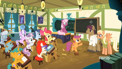 Size: 1745x982 | Tagged: safe, screencap, apple bloom, cheerilee, diamond tiara, mane allgood, scootaloo, shady daze, silver spoon, snails, snap shutter, snips, sweetie belle, twist, earth pony, pegasus, pony, unicorn, the last crusade, book, chalkboard, colt, cutie mark crusaders, desk, discovery family logo, globe, male, microscope, school, scootaloo's parents