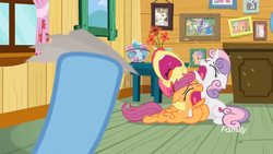 Size: 1745x982   Tagged: safe, screencap, apple bloom, applejack, babs seed, featherweight, rainbow dash, rarity, scootaloo, sweetie belle, tender taps, earth pony, pegasus, pony, unicorn, the last crusade, bowl, candy, clubhouse, crusaders clubhouse, crying, curtains, cutie mark crusaders, discovery family logo, flower, food, picture, picture frame, ticket, window
