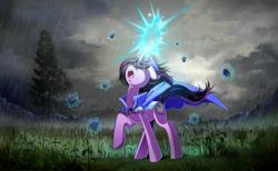 Size: 1400x865 | Tagged: safe, artist:skyeypony, oc, oc only, oc:amethyst heartstone, pony, unicorn, cape, clothes, commission, female, levitation, magic, mare, rain, sneezing, solo, telekinesis, tree