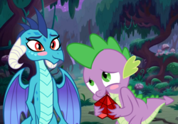 Size: 1460x1024 | Tagged: safe, artist:3d4d, princess ember, spike, emberspike, female, male, shipping, straight