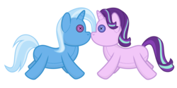 Size: 2000x1000   Tagged: safe, artist:devfield, starlight glimmer, trixie, unicorn, boop, button, female, lesbian, mare, no pony, plushie, shadow, shipping, simple background, startrix, toy, transparent background