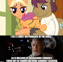 Size: 759x755 | Tagged: safe, edit, edited screencap, screencap, mane allgood, scootaloo, snap shutter, earth pony, human, pegasus, pony, the last crusade, clothes, crossover, cutie mark, discussion in the comments, family, female, filly, foal, gift from god, hat, irl, irl human, it's happening, male, man, mare, meme, obi wan kenobi, photo, ponyville schoolhouse, shirt, stallion, star wars, the cmc's cutie marks