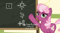 Size: 1920x1080 | Tagged: chalkboard, cheerilee, credits, discovery family logo, earth pony, female, lidded eyes, looking at you, mare, pointing, pony, ponyville schoolhouse, rain, safe, screencap, snow, snowflake, solo, spoiler:s09e12, sun, the last crusade