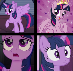 Size: 640x624 | Tagged: alicorn, artist:pinkyazflychan, art trade, big crown thingy, collage, edit, edited screencap, jewelry, my little pony: the movie, regalia, safe, screencap, solo, twilight sparkle, twilight sparkle (alicorn)