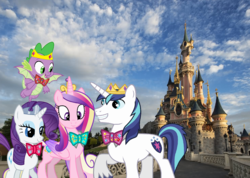Size: 2528x1800 | Tagged: alicorn, artist:cloudyglow, artist:dashiesparkle, artist:disneymarvel96, artist:redpandapony, artist:sakatagintoki117, bowtie, crown, disneyland, disneyland paris, dragon, female, irl, jewelry, male, photo, ponies in real life, pony, princess cadance, rarity, regalia, safe, shining armor, shiningcadance, shipping, sparity, spike, straight, unicorn
