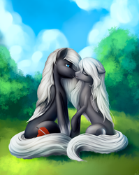 Size: 1990x2502 | Tagged: artist:l1nkoln, eyes closed, female, grass, imminent kissing, lesbian, oc, oc:sacred blade, pegasus, safe