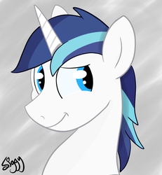Size: 2438x2640 | Tagged: alternate version, artist:siggyderp, bust, cute, male, pony, profile, safe, shining adorable, shining armor, signature, smiling, solo, stallion, unicorn