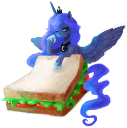 Size: 946x954 | Tagged: alicorn, artist:zombeegost, crown, cute, cute little fangs, fangs, female, food, hoof shoes, jewelry, lunabetes, mare, one eye closed, ponies in food, pony, princess luna, regalia, safe, sandwich, simple background, solo, white background