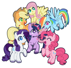 Size: 622x590 | Tagged: applejack, artist:catawump, chest fluff, colored hooves, cowboy hat, ear fluff, earth pony, eyes closed, female, fluttershy, flying, hat, leg fluff, mane six, mare, no pupils, open mouth, pegasus, pinkie pie, pony, rainbow dash, rarity, safe, simple background, transparent background, twilight sparkle, unicorn, unicorn twilight, unshorn fetlocks