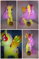 Size: 2610x3930 | Tagged: safe, artist:encorepride, fluttershy, pegasus, pony, collage, irl, photo, plushie, rubik's cube, solo, ty