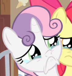 Size: 630x671 | Tagged: apple bloom, :c, cropped, frown, pony, sad, safe, screencap, spoiler:s09e12, sweetie belle, teary eyes, the last crusade