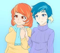 Size: 1280x1131 | Tagged: safe, artist:jonfawkes, aunt holiday, auntie lofty, human, the last crusade, anime, cute, female, holding hands, humanized, lesbian, lofty day, shipping, wing ears
