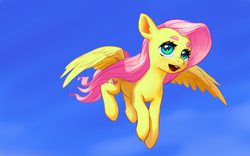 Size: 2560x1600 | Tagged: artist needed, beanbrows, cute, eyebrows, female, fluttershy, flying, looking at you, mare, open mouth, pegasus, pony, safe, shyabetes, sky, smiling, solo, source needed, spread wings, teeth, three quarter view, windswept mane, wings