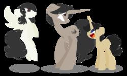 Size: 1024x614   Tagged: safe, artist:midori-kiwa-art, oc, oc:archooves, oc:dio, oc:marie, pegasus, pony, unicorn, children, simple background, transparent background