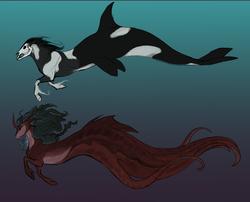 Size: 3582x2889 | Tagged: safe, artist:eerinless, oc, oc only, oc:aesir, oc:alderia, deity, monster pony, octopony, orca pony, original species, coat markings, duo, female, god, goddess, gradient background, horn, male, profile, skull, skull head, underwater, unshorn fetlocks