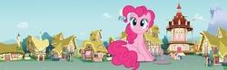 Size: 8049x2500 | Tagged: safe, artist:boneswolbach, artist:dashiesparkle, artist:jerryakira80, applejack, fluttershy, pinkie pie, rainbow dash, rarity, twilight sparkle, alicorn, earth pony, pegasus, pony, unicorn, absurd resolution, giant pony, houses, macro, mane six, ponyville, story included, town hall, twilight sparkle (alicorn)