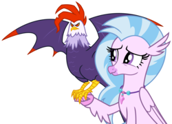 Size: 4616x3322 | Tagged: safe, artist:sketchmcreations, edith (cockatrice), silverstream, classical hippogriff, cockatrice, hippogriff, student counsel, female, jewelry, necklace, red eyes, simple background, smiling, spread wings, transparent background, vector, wings