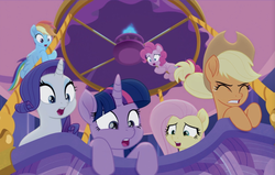 Size: 1363x866 | Tagged: alicorn, applejack, fluttershy, hot air balloon, mane six, pinkie pie, preview, rainbow dash, rainbow roadtrip, rarity, safe, screencap, spoiler:rainbow roadtrip, twilight sparkle, twilight sparkle (alicorn)