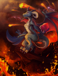 Size: 3000x3903 | Tagged: artist:elicitie, badass, bloodstone scepter, dragon, dragoness, dragon lord ember, epic, female, fire, fireball, lava, princess ember, safe, smoke, solo, volcano