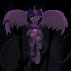 Size: 2048x2048 | Tagged: alicorn, artist:qzygugu, chains, corrupted twilight sparkle, evil, female, mare, pony, safe, solo, sombra eyes, twilight sparkle, twilight sparkle (alicorn)