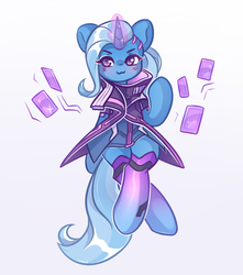 Size: 1500x1700 | Tagged: :3, artist:avonir, blushing, clothes, female, glowing horn, horn, magic, overwatch, pony, safe, solo, sombra (overwatch), telekinesis, trixie, unicorn