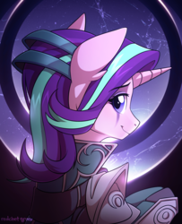 Size: 1200x1476 | Tagged: artist:redchetgreen, crossover, diana, female, league of legends, safe, smiling, solo, starlight glimmer, unicorn, video game crossover