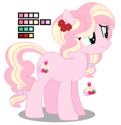 Size: 357x369 | Tagged: safe, artist:awoomarblesoda, oc, oc:shortcake rose, earth pony, pony, base used, female, magical lesbian spawn, mare, offspring, parent:fluttershy, parent:pinkie pie, parents:flutterpie, reference sheet, simple background, solo, transparent background