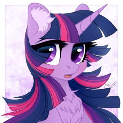 Size: 1500x1500 | Tagged: safe, artist:vird-gi, twilight sparkle, alicorn, pony, bust, chest fluff, cute, ear fluff, female, fluffy, looking at you, mare, open mouth, portrait, solo, twiabetes, twilight sparkle (alicorn)
