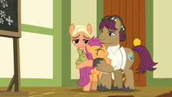 Size: 1920x1080 | Tagged: safe, screencap, mane allgood, scootaloo, snap shutter, earth pony, pegasus, pony, the last crusade, clothes, cutie mark, eyes closed, family, father and daughter, female, filly, foal, hat, hug, long time no see, male, mare, mother and daughter, ponyville schoolhouse, scootaloo's parents, scootalove, shirt, stallion, the cmc's cutie marks, trio