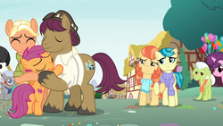 Size: 1920x1080 | Tagged: safe, screencap, aunt holiday, auntie lofty, chipcutter, granny smith, mane allgood, mercury, scootaloo, snap shutter, starry eyes (character), sugar belle, earth pony, pegasus, pony, unicorn, the last crusade, best friends, butt, clothes, cutie mark, female, filly, foal, holding hooves, hug, lesbian, lofty day, male, mare, plot, scarf, scootalove, shipping, stallion, sweater, the cmc's cutie marks