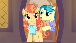 Size: 1920x1080   Tagged: safe, screencap, aunt holiday, auntie lofty, pony, the last crusade, clothes, duo, ear piercing, earring, female, jewelry, mare, piercing, scarf, sweater