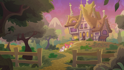Size: 1920x1080 | Tagged: apple bloom, cutie mark crusaders, discovery family logo, earth pony, female, fence, filly, foal, holiday and lofty's house, house, mountain, pegasus, pony, saddle bag, safe, scenery, scootaloo, screencap, spoiler:s09e12, sweetie belle, the last crusade, tree, trio, unicorn