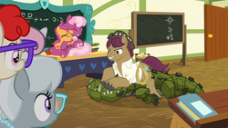 Size: 1920x1080 | Tagged: safe, screencap, cheerilee, scootaloo, silver spoon, snap shutter, sweetie belle, twist, cragadile, crocodile, pegasus, pony, the last crusade, clothes, cutie mark, female, filly, foal, hat, male, mare, ponyville schoolhouse, shirt, stallion, the cmc's cutie marks, wrangling