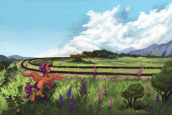 Size: 2500x1682 | Tagged: artist:weird--fish, cloud, female, grass, grass field, pegasus, pony, railroad, safe, scenery, scootaloo, scootalove, sky, smiling, train, tunnel