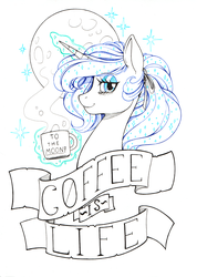 Size: 2417x3399 | Tagged: alicorn, alternate hairstyle, artist:longinius, bags under eyes, bust, coffee mug, female, limited palette, lineart, looking at you, magic, mare, moon, mug, pony, ponytail, princess luna, profile, safe, solo, stars, telekinesis, text, tired, to the moon