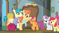 Size: 1920x1080 | Tagged: safe, screencap, apple bloom, aunt holiday, auntie lofty, scootaloo, sweetie belle, earth pony, pegasus, pony, unicorn, the last crusade, adventure in the comments, cutie mark, cutie mark crusaders, eyes closed, female, filly, foal, head pat, lesbian, mare, pat, raised hoof, suitcase, the cmc's cutie marks, wing hands, wing hold, wings